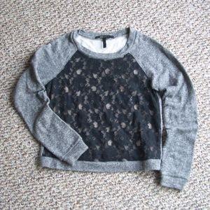 BCBGMaxAzria lace front terry sweatshirt XXS